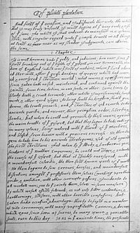 Front page of William Bradford's manuscript for Of Plimoth Plantation