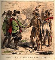 """""""Interview of Samoset with the Pilgrims"""", book engraving, 1853"""