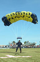 """A member of the U.S. Navy Parachute Demonstration Team, the """"Leap Frogs"""", returns to earth after a successful jump."""