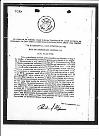 Presidential Unit Citation awarded to SEAL Team TWO for extraordinary heroism in Vietnam from July 1969 to June 1971.