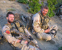 Navy SEALs LT Michael P. Murphy and STG2 Matthew Axelson in Afghanistan, both of whom were killed in action