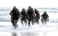 A SEAL Team coming out of water