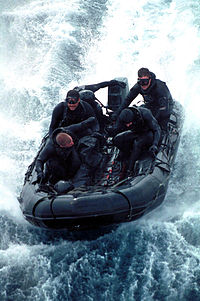 SEAL Team 5 conducts an exercise in a Combat Rubber Raiding Craft in 2000.