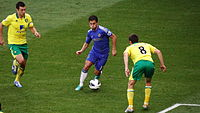 Eden Hazard in possession of the ball during a 2012 match between Chelsea and Norwich City.