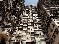 Stacked apartment units in Quarry Bay's Montane Mansion, an example of architectural compression common in Hong Kong
