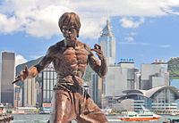 Statue of Bruce Lee on the Avenue of Stars, a tribute to the city's film industry