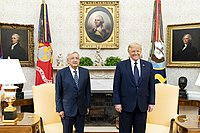 Mexican President López Obrador with U.S. President Donald Trump in the White House, July 2020.