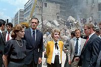 First ladies Paloma Cordero of Mexico (left) and Nancy Reagan of the United States (right) with U.S. Ambassador to Mexico, John Gavin observing damage from an earthquake.