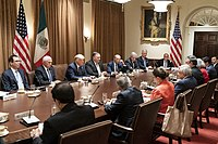 President Donald J. Trump, joined by Vice President Mike Pence and members of his Cabinet, participates in an expanded bilateral meeting with Mexican President Andres Manuel Lopez Obrador Wednesday, July 8, 2020, in the Cabinet Room of the White House.