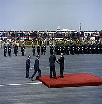 U.S. President John F. Kennedy greeting Mexican president Adolfo López Mateos at Mexico City International Airport in June 1962