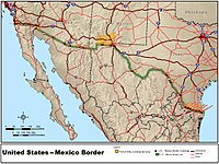 The border between Mexico and the United States spans four U.S. states, six Mexican states, and has over twenty commercial crossings.