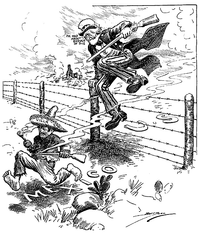 """Uncle Sam saying """"I've had about enough of this"""" as a small and barefoot Pancho Villa, gun in hand, runs away. In 1916 Wilson sent an unsuccessful punitive expedition to capture Villa after he murdered Americans in his raid on Columbus, New Mexico"""