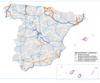 The network of high capacity roads in Spain features its most important node in Madrid.