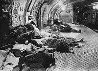People seeking refuge in the metro during the unsuccessful Francoist bombings (1936-1937) over Madrid during the Spanish Civil War