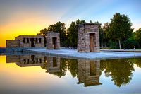 The Temple of Debod, an ancient Egyptian temple dismantled and rebuilt in the Parque del Oeste.