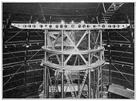 The horizontal structure mounted at the top of the Hooker Telescope implements Michelson's stellar interferometer (1920). Mirrors on that stage (not visible in picture) redirect starlight from two smaller apertures up to 20 feet (6m) apart into the telescope.