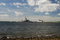 View of Mount Hope Bay and Brayton Point Power Station from Fall River, Massachusetts, June 2010