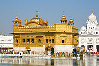 The Harmandir Sahib in Amritsar, India, known informally as the Golden Temple, is the holiest gurdwara of Sikhism next to Akal Takht, a Sikh seat of power.