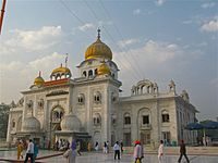 """Gurudwara Bangla Sahib is one of the most prominent Sikh gurdwara in Delhi, India and known for its association with the eighth Sikh Guru, Guru Har Krishan, as well as the pool inside its complex, known as the """"Sarovar."""""""