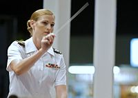 US Army Captain Sharon Toulouse leading a military music ensemble in 2008