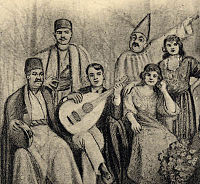 A group of musicians, including women performers, from a Baghdad musical theatre group in the 1920s