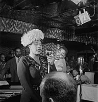 Ella Fitzgerald performing with Dizzy Gillespie, Ray Brown, Milt Jackson and Timme Rosenkrantz in September 1947, New York