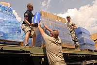 The National Guard delivering water during the 2014 event