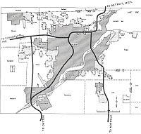 A 1955 Interstate planning map of Toledo
