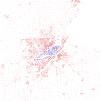 Map of racial distribution in Toledo, 2010 U.S. Census. Each dot is 25 people: White, Black, Asian , Hispanic or Latino of any race or Other (yellow)