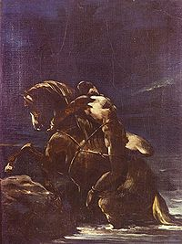 """""""Mazeppa"""" by Théodore Géricault, based on an episode in Byron's poem when the young Mazeppa is punished by being tied to a wild horse."""