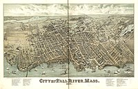 Panoramic map of Fall River with list of sights (1877)