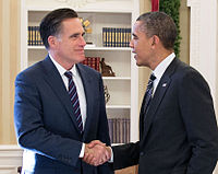 Obama greets former Governor Mitt Romney in the Oval Office on November 29, 2012, in their first meeting since Obama's re-election victory over Romney.