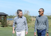 Obama playing golf with the President of Argentina Mauricio Macri, October 2017
