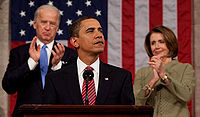 Obama delivers a speech at joint session of Congress with Vice President Joe Biden and House Speaker Nancy Pelosi on February 24, 2009.