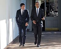 Obama meets with Italian Prime Minister Matteo Renzi at the White House, October 2016.