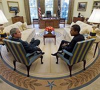 Outgoing President George W. Bush meets with President-elect Obama in the Oval Office on November 10, 2008.
