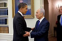 Obama meeting with Israeli President Shimon Peres in the Oval Office, May 2009