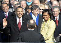 Obama takes the oath of office administered by Chief Justice John G. Roberts Jr. at the Capitol, January 20, 2009
