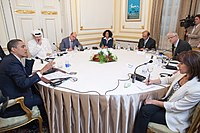 June 4, 2009 − after his speech A New Beginning at Cairo University, U.S. President Obama participates in a roundtable interview in 2009 with among others Jamal Khashoggi, Bambang Harymurti and Nahum Barnea.