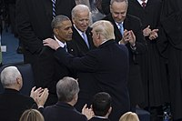 Obama with his two successors, Joe Biden and Donald Trump, at the latter's inauguration on January 20, 2017