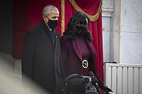 Obama and his wife Michelle at the inauguration of Joe Biden