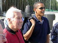 Obama and U.S. Senator Richard Lugar (R-IN) visit a Russian facility for dismantling mobile missiles (August 2005)