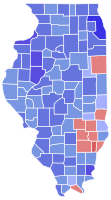 Results of the 2004 U.S. Senate race in Illinois; Obama won the counties in blue.