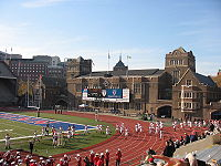 Franklin Field at the University of Pennsylvania. Franklin Field hosts the annual Penn Relays.