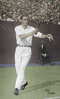 Tennis player Bill Tilden. Tilden is widely considered to be one of the best tennis players of the first half of the 20th century.