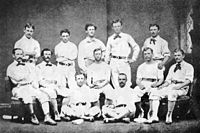 The 1874 Philadelphia Athletics. This incarnation of the Athletics (unrelated to the modern Oakland Athletics) was the first major league baseball team in the city