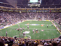 The Philadelphia Wings versus the Minnesota Swarm. The Wings relocated from Philadelphia in 2014 to become the New England Black Wolves.