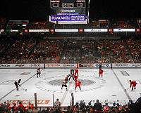 The Philadelphia Phantoms play against the Portland Pirates in their final season at the Spectrum. The Phantoms now play in Allentown as the Lehigh Valley Phantoms.