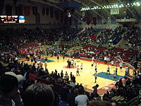 College basketball at the University of Pennsylvania's Palestra. The Palestra hosts many of the basketball games of the Big Five, a collegiate rivalry among five Philadelphia-area teams.