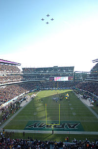 The 2005 Army–Navy football game, played at Lincoln Financial Field. Philadelphia has hosted the annual game more often than any other city.